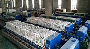 山东扬州某精密仪器制造有限公司自动拉板压滤机使用现场