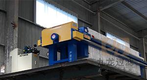 山东日照某大理石工厂自动拉板压滤机使用现场